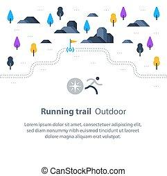mapa, na wolnym powietrzu, okolica, ciągnąć, krajobraz, wyścigi, maraton, działalność, bandery, sport, ścieżka