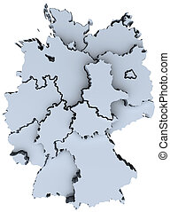 mapa, nacional, deutschland, estados, alemanha, 3d