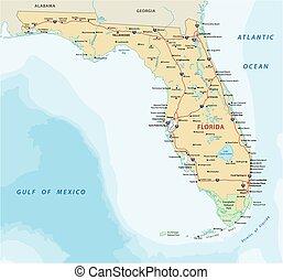 mapa, nacional, flórida, estrada, parques