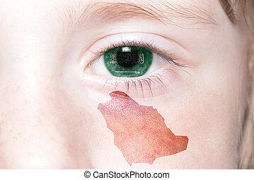mapa, nacional, humano, cara, bandera, arabia., saudí