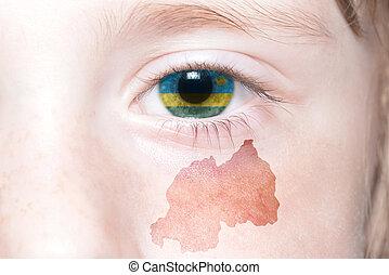 mapa, nacional, humano, rosto, bandeira, rwanda.