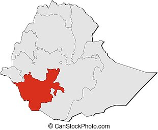 mapa, nacionalidades, -, região, sulista, etiópia, nações, peoples'