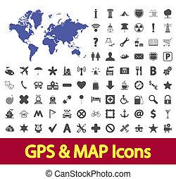 mapa, navegação, icons.