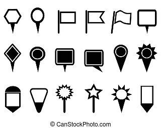 mapa, navegação, ponteiro, ícones