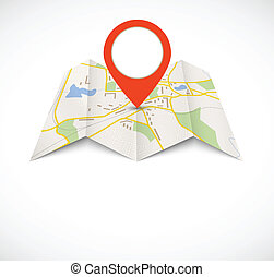 mapa, nawigacja, czerwony, szpilka