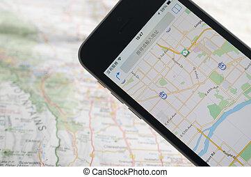 mapa, nawigator, smartphone, gps