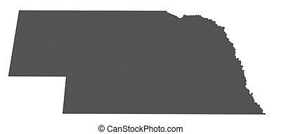 mapa, nebraska, -, estados unidos de américa