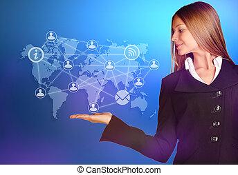 mapa, negócio mulher, ícones, sobre, mão, mundo, pessoas.