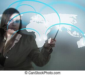 mapa, negócio, mundo