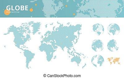 mapa, negócio, pontilhado, marcado, econômico, mundo, globos, terra, centros