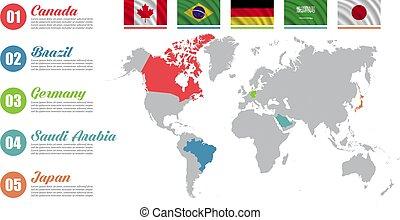 mapa, negocio del mundo, países, color, mercadotecnia, ...