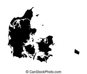 mapa, negro, dinamarca