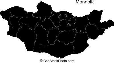 mapa, negro, mongolia