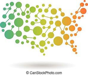 mapa, networking, eua, logotipo