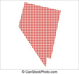 mapa, nevada, vermelho, ponto