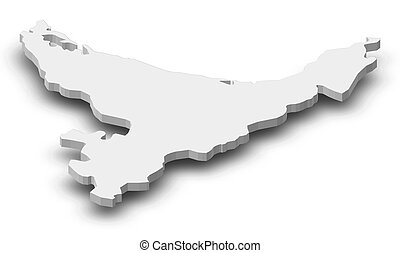 mapa, (new, -, baía, 3d-illustration, zealand), abundância