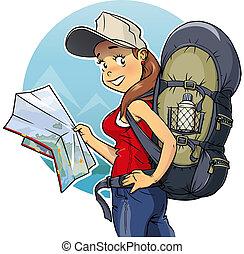mapa, niña, turista, mochila