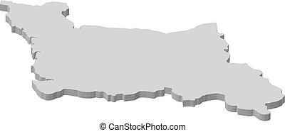 mapa, niższy,  -,  (france),  3d-illustration,  Normandy