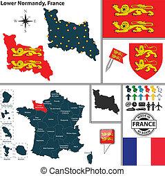 mapa, niższy, normandy, francja