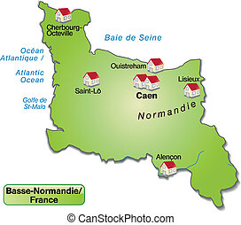 mapa, niższy,  Normandy