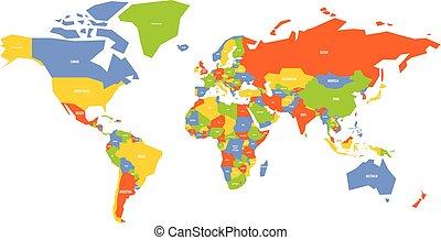 mapa, nome, coloridos, país, etiquetas, vetorial, simplificado, world.