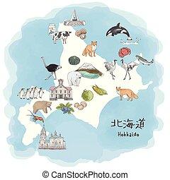 mapa, norteño, isla, viaje, -, ilustración, acuarela, ...