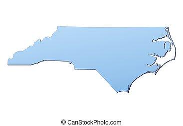 mapa, norte, carolina(usa)