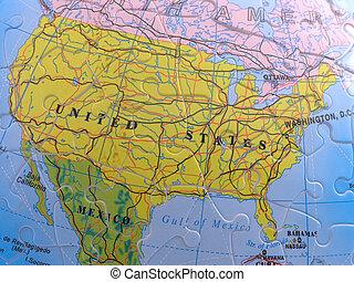 mapa, norte, globo, -, américa, rompecabezas