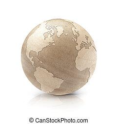 mapa, norte, ilustração, madeira, mundo, américa, sul, 3d