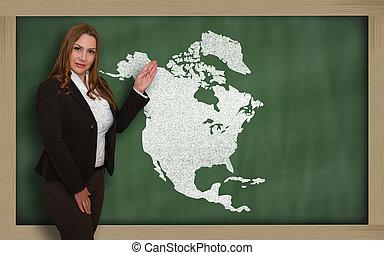 mapa, norte, quadro-negro, mostrando, américa, professor