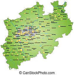 mapa, norte reno-westphalia