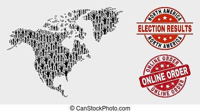 mapa, norte, selo, composição, online, voto, grunge, américa, ordem