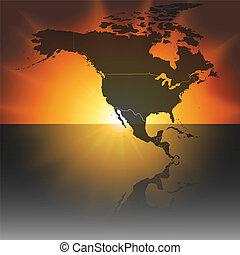 mapa, norte, vector, ocaso, plano de fondo, américa