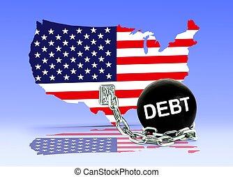 mapa, norteamericano, deuda, pelota