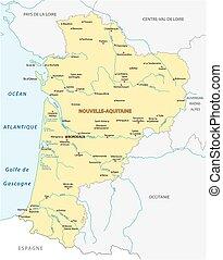 mapa, nouvelle-aquitaine, región, francés, nuevo