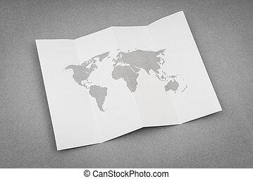 mapa, noviny, přivinout, společnost