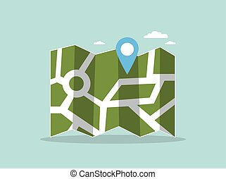 mapa, noviny, pin.