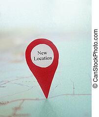 mapa, novo, localização