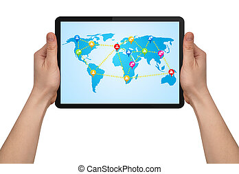 mapa, nowoczesny, ręka, touchpad, dzierżawa, towarzyski,...