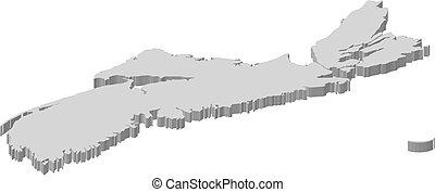 mapa, -, nueva escocia, (canada), -, 3d-illustration
