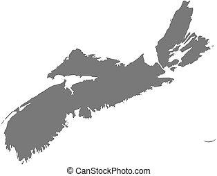 mapa, -, nueva escocia, (canada)