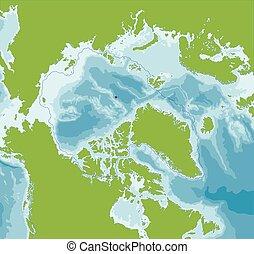 mapa, océano ártico