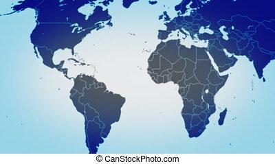 mapa, od, świat, w, błękitny, pętla