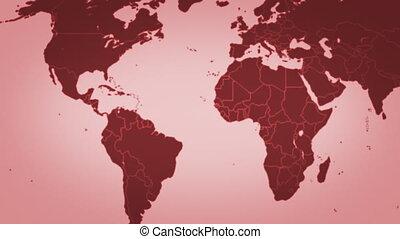 mapa, od, świat, w, czerwony, pętla