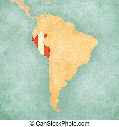 mapa, od, ameryka południowa, -, peru, (vintage, series)