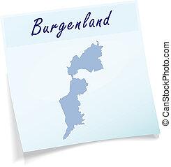mapa, od, burgenland, jak, klejowata nuta