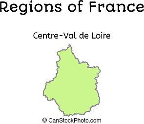 mapa, od, francja,  centre-val, administracyjny,  Loire