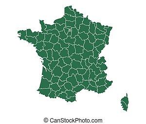 mapa, od, francja