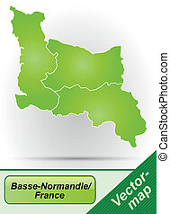 mapa, od, niższy, normandy