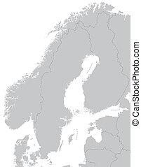 mapa, od, skandynawia